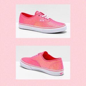 VANS Neon Glitter Skate Shoes Sneakers Pink 1.5